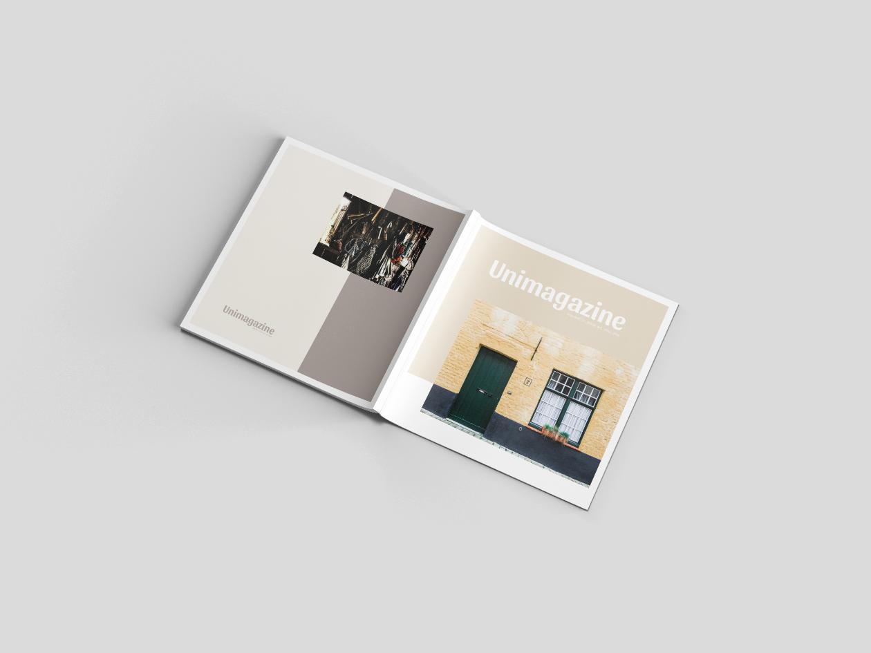 perspective cover square magazine mockup