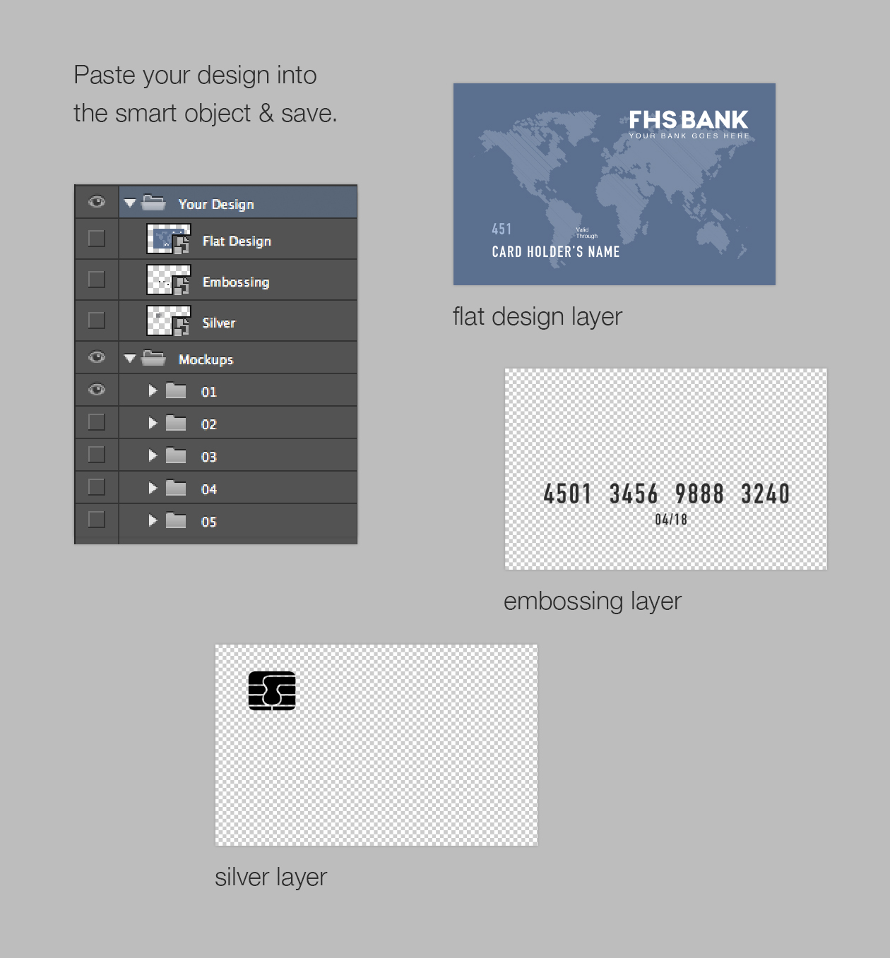 How to edit credit card psd mockup