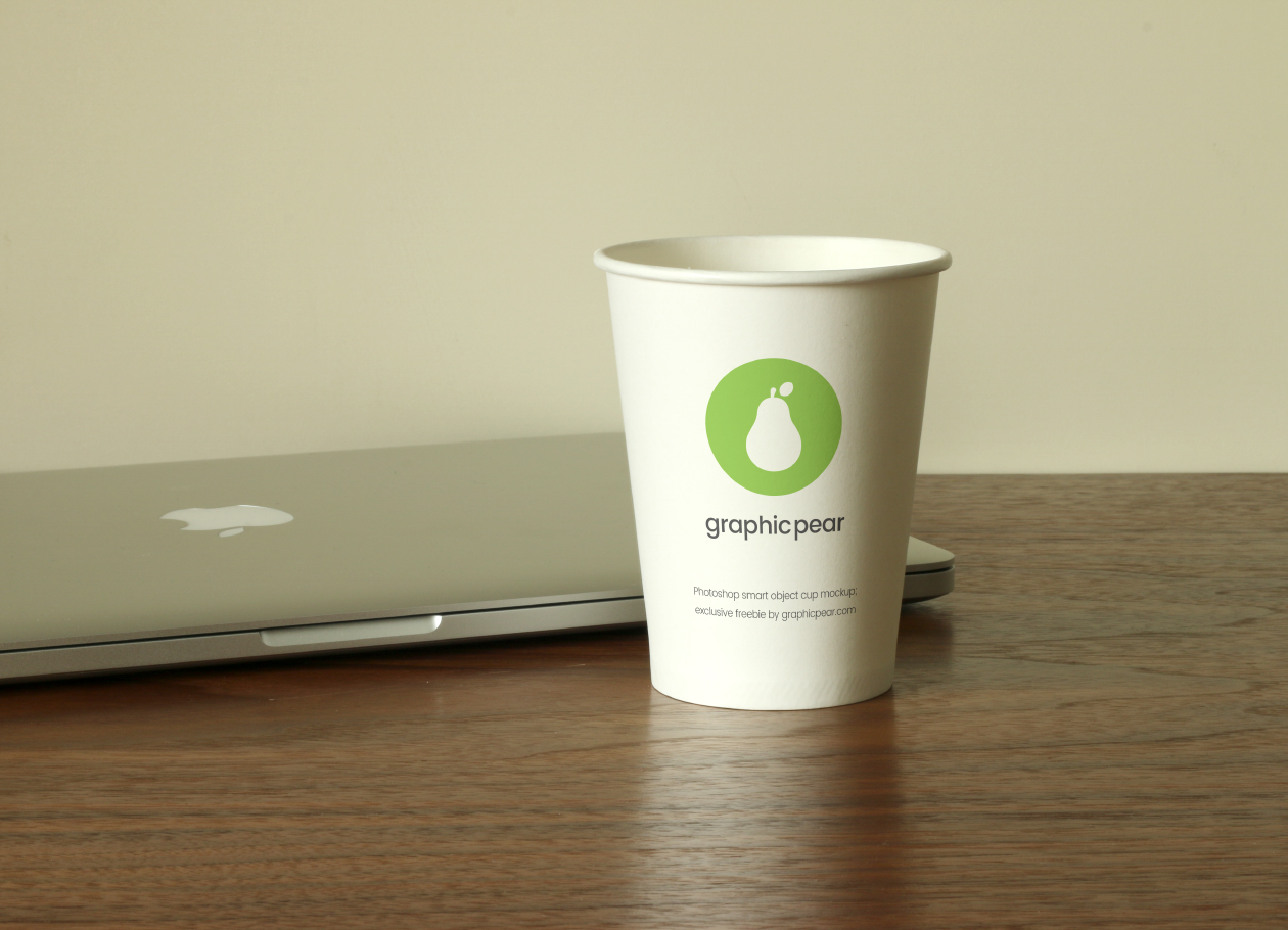 Cup and laptop mockup