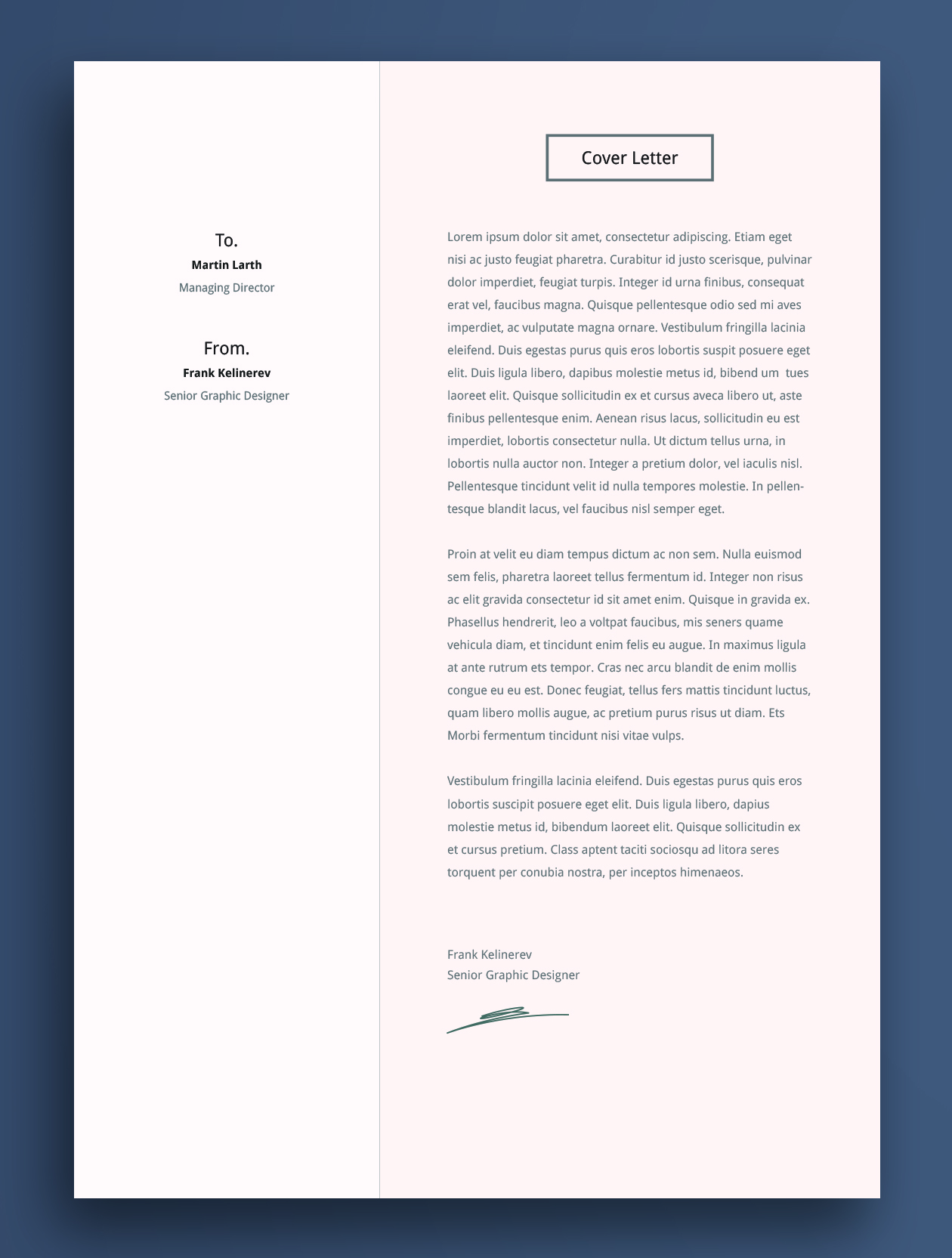 Cover Letter Cv Template Design