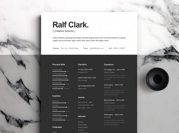 B&W Resume Templatea