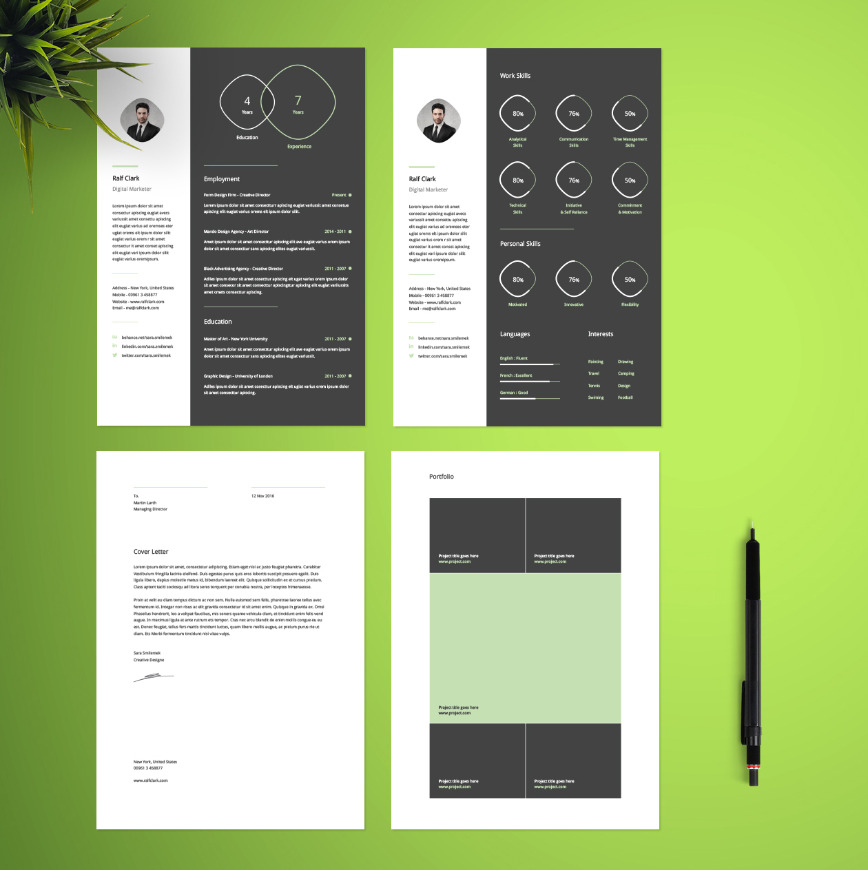pages Infographic resume cv template